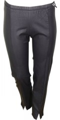 Zhenzi - Coated twist pants with rubber band in whole the waist and fine stiching front with little slit at the foot