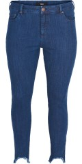 Zizzi - Amy denim jeans med cool fransor, super slim jeggings med streck