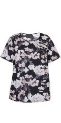 Zhenzi - Strechy flowery fitness blouse with short sleeves