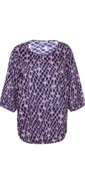 Zhenzi - Skjortebluse i fast stof med 3/4 ærmer