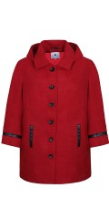 Zhenzi - Nice stylish 3/4 long red coat with black buttons and black tie at sleeves and pockets