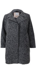 Cassiopeia - Super smart krister, lined coat with wool, collar. is closed with hidden zipper and press studs