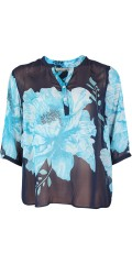 Cassiopeia - Abiola chiffon blouse with 3/4 sleeves and  closing in smart print