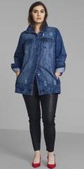 Zizzi - Lækker lang denim jakke i klassisk snit med slid-effekter