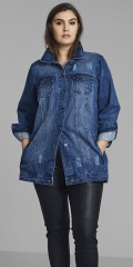 Zizzi - Stylish long denim jacket in classic cut with worn-out effect-effects