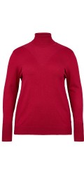 Adia - Pullover rollneck in nice red knit with width sleeve ribs