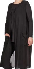 Adia Fashion - Flott lang vest/strøk med flott plissé og lommer