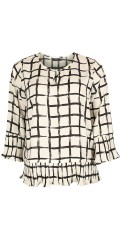 Vanting  - Fine shirt blouse in smart chequered fabric