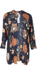Zhenzi - Kardigan kimono med långa ärmar och hög spund
