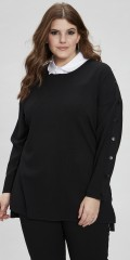 Zhenzi - Strik pullover med slids i begge sider og smarte trykknapper i ærmerne