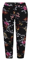 Zhenzi - Pants loose fit in although flowery strechy fabric with rubber band and tie string in the waist
