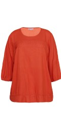 Blouse with 3/4 sleeves in fine structural tissue viscose