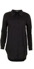 Sandgaard - Basis loose skjorta med streck, som kan knappes ganska upp i kragen