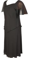 Kirsten Krog Design - Elegant fest klänning med chiffon ärmar och lag på lag topp