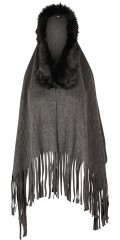 Adia Fashion - Coat/poncho/headscarf with fringes and stylish fake fur edge
