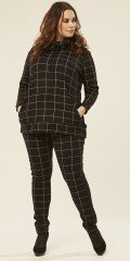 Adia Fashion - Chequered strechy pants with rubber band in the back and black tie in the sides
