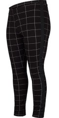 Adia - Chequered strechy pants with rubber band in the back and black tie in the sides
