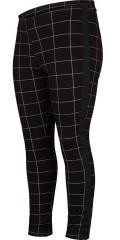 Adia Fashion - Rutad strechy byxor med gummiband i baksidan och svart band i sidorna
