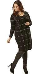 Adia Fashion - Pullover with long sleeves and v cutting in nice chequered knit
