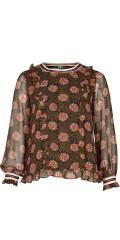 Zoey - Rikke bluse med flæse og sports striber i retro mønster og fast syet viscose top