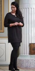 Zoey - Pia tunika med 3/4 ärmar och rund hals och smart lång blixtlås i båba sida