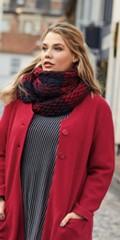 CISO - Smart rødt og blåt tørklæde i vaflet materiale