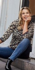 CISO - Soft lace blouse with flowers and sports rib-edge at sleeves and neck