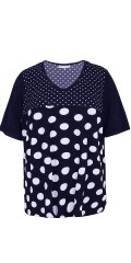 Zhenzi - T-shirt blouse with white bombs, short sleeves and v cutting