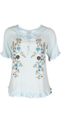 Zhenzi - Sweet shirt blouse in creek and wave quality with short sleeves and nice floral embroidery
