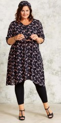 Gozzip - Flowery shirt dress in light crep and 3/4 sleeves