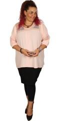 Gozzip - Bluse / tunika med 3/4 ærmer og smart blonde isat i ærmer og foroven for og bag