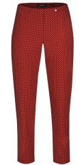 Robell (Godske Group) - Bella slim fit 7/8 pants in nice red colour with white dots and 2 back pockets