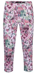 Robell - Bella slim fit capri pants in nice flowery colour, with rubber band in whole the waist