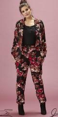 Zhenzi - Pants loose fit i skønt blomstret fast stof med elastik og bindebånd i taljen