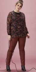 Zhenzi - Chiffon blouse with rib edge in neck and sleeves, also hard sewn lining in the body