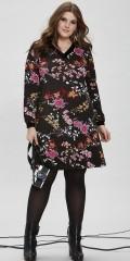 Zhenzi - Sød langærmet kjole med velour rib i hals og ærmer