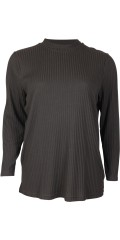 Handberg - T-shirt with turtle neck and long sleeves in 4x4 flat rib quality
