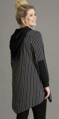 Handberg - Smart striped strechy jacket with cap and asymmetric of end at the bottom