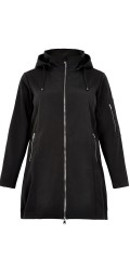 Studio Clothing - Long soft shell jacket with detachable cap and coarse zip fasteners