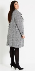 Studio - Long all-buttoned jacket in elegant design with collar and tie string