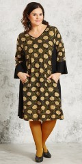 Gozzip - Strechy klänning med fickor och 3/4 ärmar