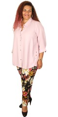 Gozzip - Fine all-buttoned shirt with golden buttons and 3/4 sleeves