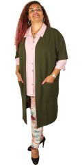 Gozzip - Long open cardigan/vest with 2 pockets