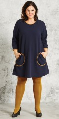 Gozzip - Tunica dress with round pockets, as is edged with contrast colour