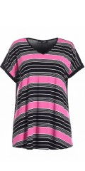 Nais - T-shirt with v cutting in light a-shaped and with fresh stripes front