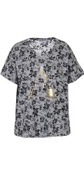 Zhenzi - T-shirt with short sleeves and v cutting, in smart print and silver print