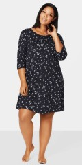 Zizzi - Nightgown with flowers print, also 3/4 sleeves and round neck