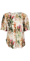 Vanting  - Nice pleat blouse with short wing sleeve and bow in the side