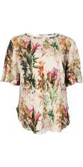Vanting  - Skøn plisse bluse med kort vingeærme og bue i siden