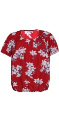 Zhenzi - Skjorte med korte ermer med elastisk lukking nederst
